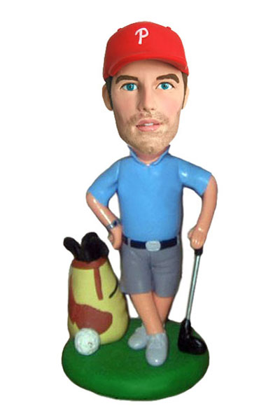 Golfer With Bag & Clubs Bobblehead - Click Image to Close